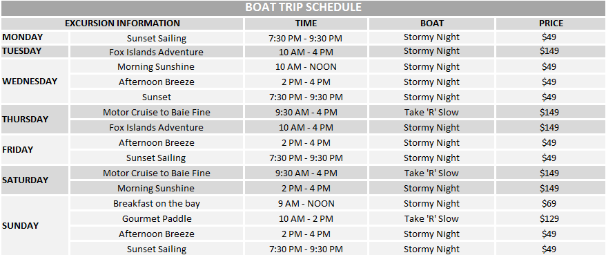 boat cruise sched